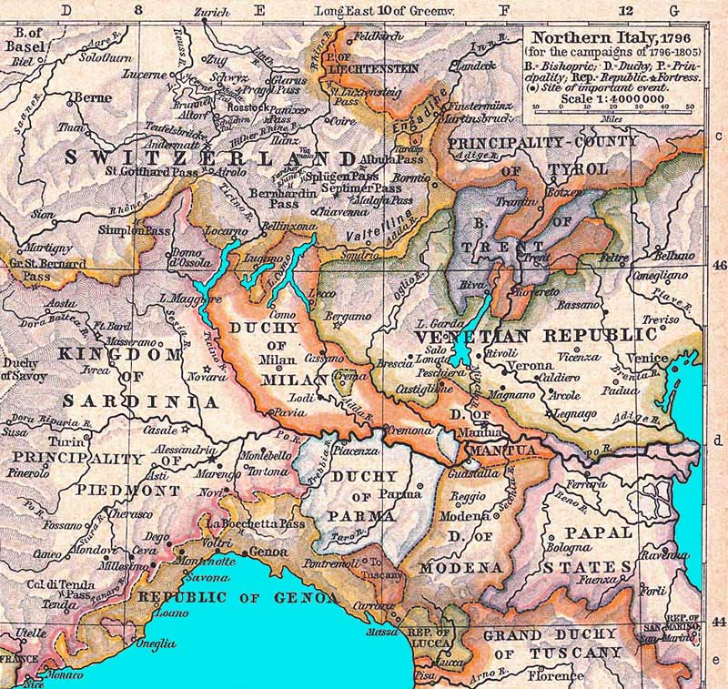 Map Of North Of Italy.Lombardy Venetia Historical Background